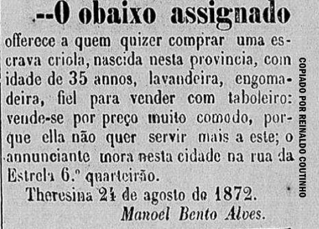 O comércio de escravos na antiga publicidade piauiense