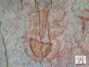 Painel com arte rupestre apresentando duas tonalidades de cor