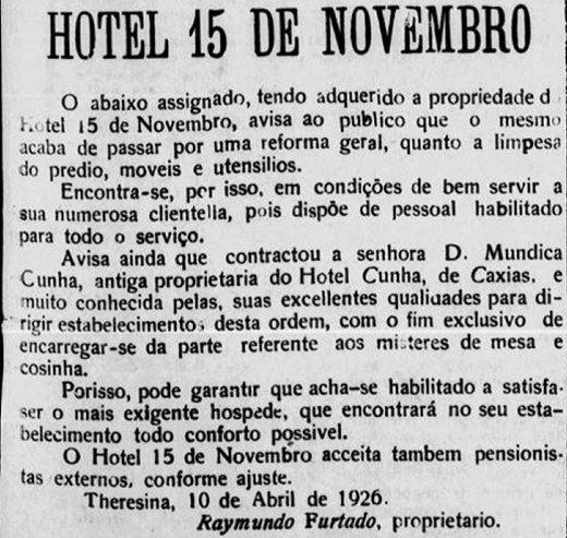 Hotel 15 de Novembro: O Hotel da Belle Époque de Teresina