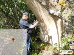 Painel com pinturas rupestres