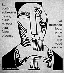 Sobrevivendo na pandemia - ilustração customizada a partir da xilogravura de Lasar Segall